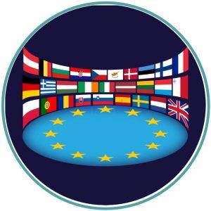 Estrelas e várias bandeiras da UE